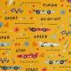 Tissu Popeline Coton Racing Vintage - Moutarde