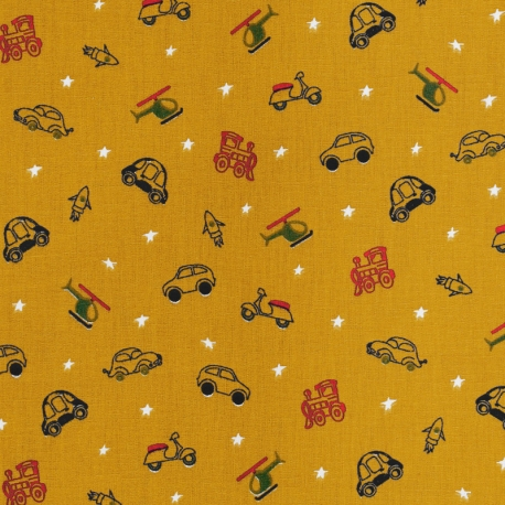 Tissu Popeline Coton Rêve de Jouets - Moutarde