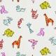 Tissu coton enduit animaux origami - Orange & Bleu ciel