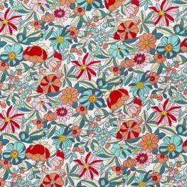 Tissu Coton Cretonne Fleur Sauvage - Blanc et Multicolore