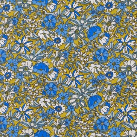 Tissu Coton Cretonne Fleur Sauvage - Curry et Bleu