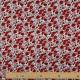 Tissu Coton Cretonne Fleur Sauvage - Blanc et Rouge