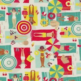 Tissu coton enduit La Plage - Ecru & Multicolore