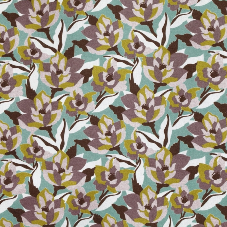 Tissu Popeline Fleur Camouflage 100% Coton Bio GOTS - Bleu