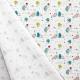 Tissu Popeline Happy Monsters Hospital 100% Coton Bio GOTS - Blanc