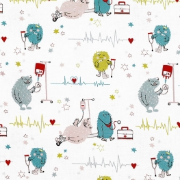 Tissu Popeline Happy Monsters Hospital 100% Coton Bio GOTS - Blanc