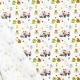 Tissu Popeline Happy Monsters Urgency 100% Coton Bio GOTS - Blanc