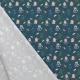 Tissu Popeline Happy Monsters Pansements 100% Coton Bio GOTS - Bleu canard foncé