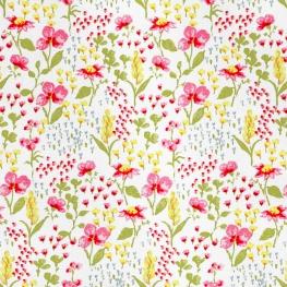 Tissu Popeline Coton Champ de fleurs - Blanc