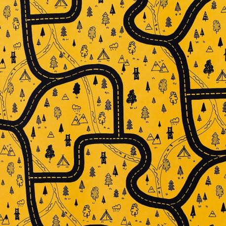 Tissu coton cretonne Route de forest - Moutarde