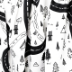 Tissu coton cretonne Route de forest - Blanc