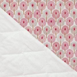 Tissu Matelassé Plume de Paon - Rose & gris