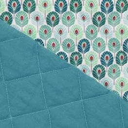 Tissu Matelassé Plume de Paon - Vert d'eau