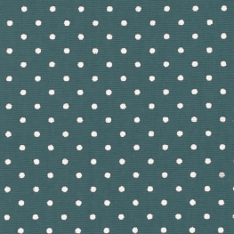 Tissu Popeline Coton Petit Pois - Bleu canard & Blanc