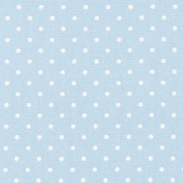 Tissu Popeline Coton Petit Pois - Bleu ciel & Blanc