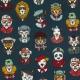 Tissu Coton Cretonne Portraits d'Animaux - Bleu pétrole