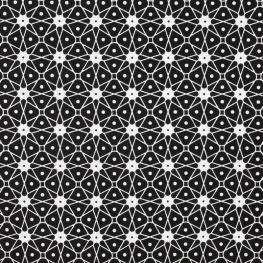 Tissu Coton Cretonne Mosaique - Noir