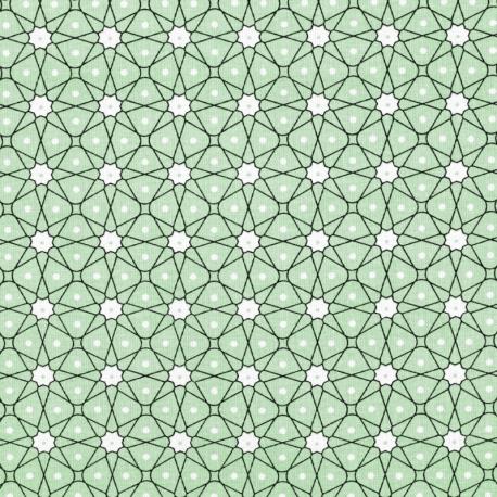 Tissu Coton Cretonne Mosaïque - Vert d'eau