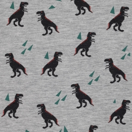 Tissu Jersey Dinosaure - Gris chiné