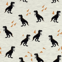 Tissu Jersey Dinosaure - Blanc chiné