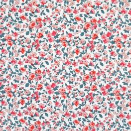 Tissu Coton Cretonne Fleuri Leonie - Rose saumon