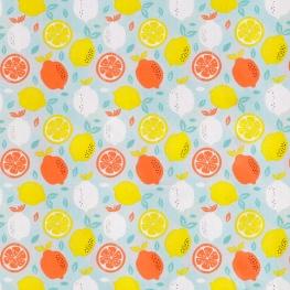 Tissu Popeline Coton Citron frais - Bleu ciel