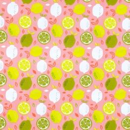 Tissu Popeline Coton Citron frais - Rose