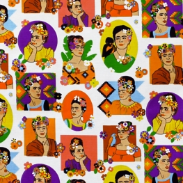 Tissu Coton Cretonne Frida Kahlo - Ecru & Multicolore