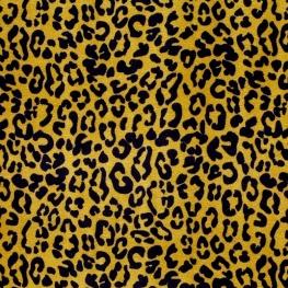 Tissu Velours Leopard - Moutarde & Noir
