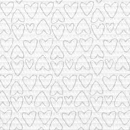 Tissu Nid d'Abeille Coeur - Blanc