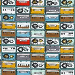 Tissu Jersey Cassettes Vintage - Bleu canard
