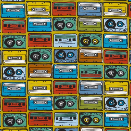 Tissu Jersey Cassettes Vintage - Moutarde