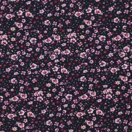 Tissu Jersey Flowery - Noir