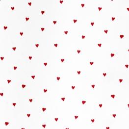 Tissu Popeline Coton Petits Coeurs - Blanc