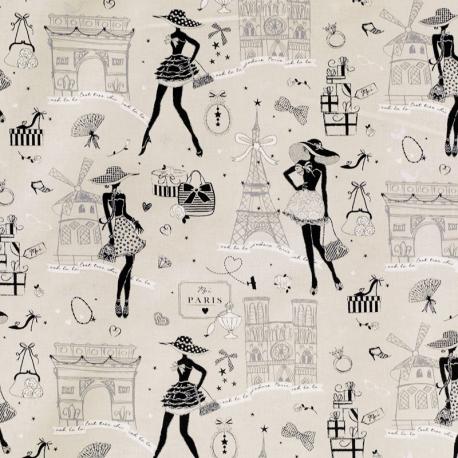 Tissu Coton Enduit Moi Paris - Taupe, Blanc & Argent