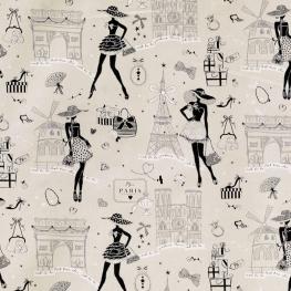 Tissu coton Moi Paris - Gris, Blanc & Argent