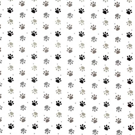 Tissu Coton Cretonne Patoune - Blanc