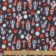 Tissu Jersey Fusées - Bleu marine & Rouge