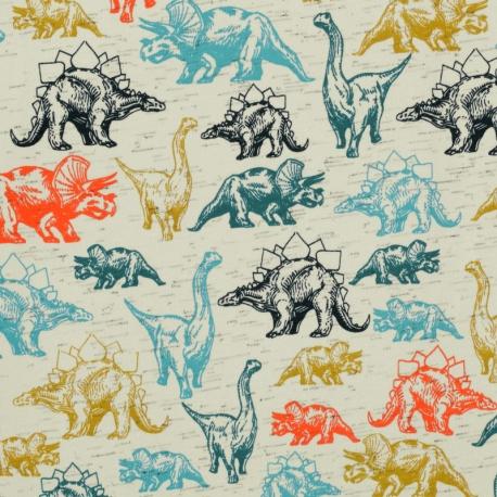 Tissu Jersey Dinosaures Réalistes - Blanc