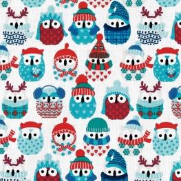 Tissu coton cretonne hiboux hivernaux- Blanc cassé & bleu
