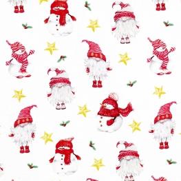 Tissu Popeline Père Noël et Bonhomme de neige 100% Coton Bio GOTS - Blanc