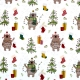 Tissu Popeline Ours de Noël 100% Coton Bio GOTS - Blanc
