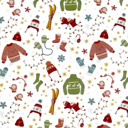 Tissu Popeline Vêtements de Noël 100% Coton Bio GOTS - Blanc
