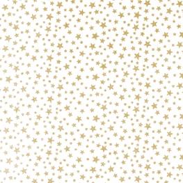 Tissu Popeline Étoiles Dorées Brillantes - Blanc