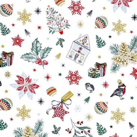Tissu Coton Cretonne Noël Féerique - Blanc