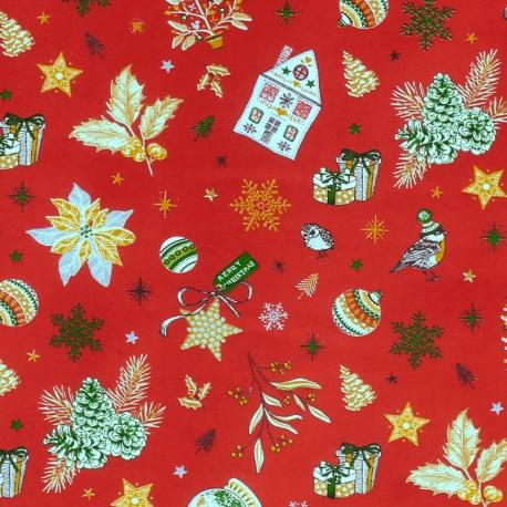 Tissu Coton Cretonne Noël Féerique - Rouge