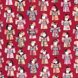 Tissu coton cretonne Geishas - Rouge