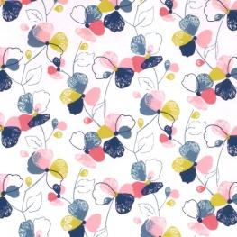 Tissu Jersey Fleurs Molletonné Intérieur - Blanc