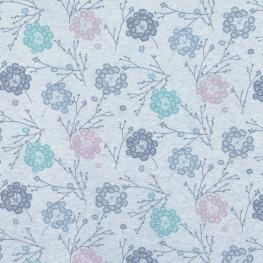 Tissu Jersey Pissenlits - Bleu Chiné