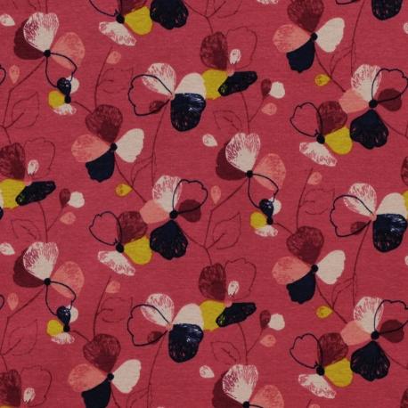 Tissu Jersey Molletonné  Fleurs - Rouge bordeaux